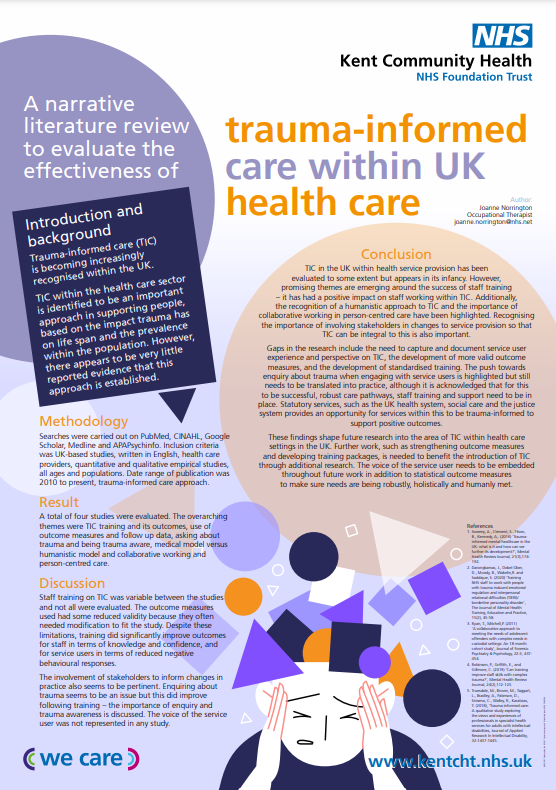 A narrative literature review to evaluate the effectiveness of trauma-informed care within the UK health care, Joanne Norrington Thumbnail